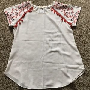 NWT! White and Orange Embroidered Blouse - Size L